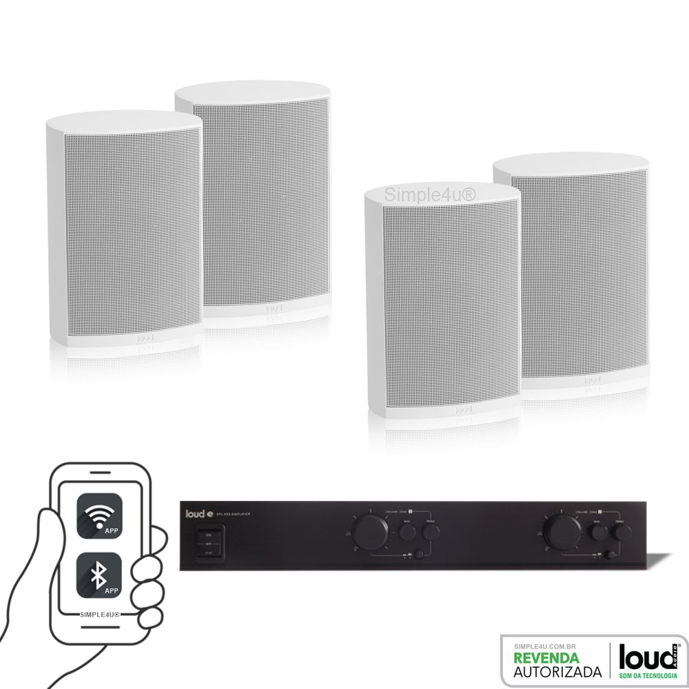 Kit Som Ambiente Multiroom 2 Zonas + Wi-fi Streaming WSR-3 + 4 Caixa Sobrepor LB5-50 Loud