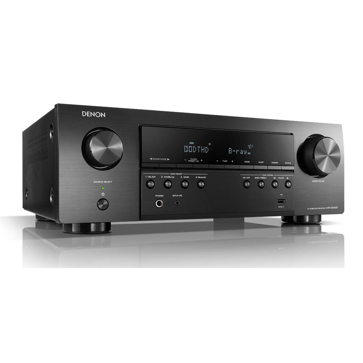 Receiver Digital 5.2 Canais 4K UHD HDR Bluetooth USB AVR-S540BT Denon
