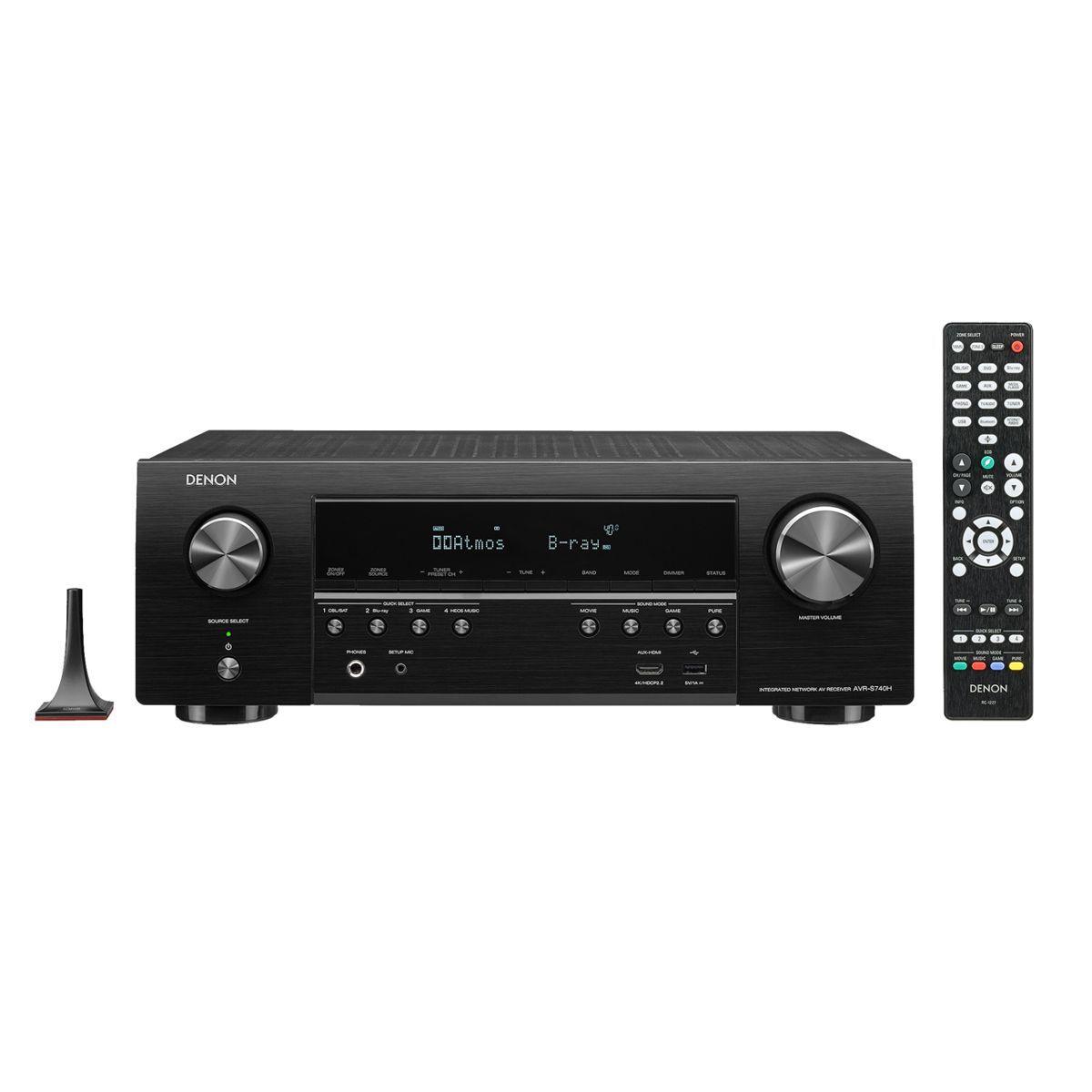 Receiver Digital 7.2 Dolby Atmos 4K UHD HDR Bluetooth USB Wi-FI AVR-S740H Denon