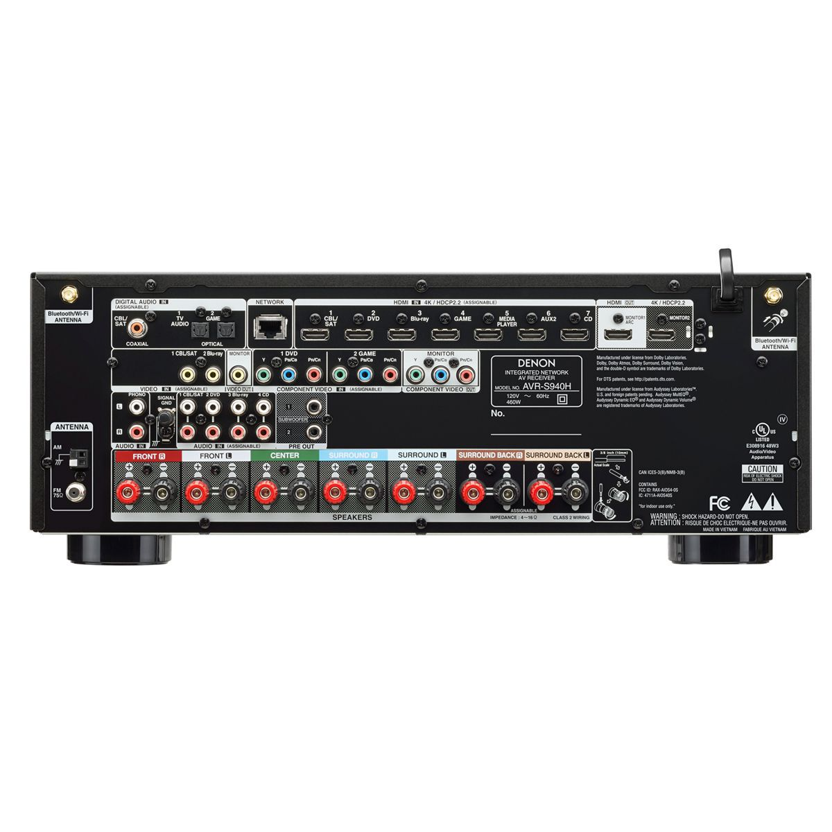 Receiver Digital 7.2 Dolby Atmos 4K UHD HDR Bluetooth USB Wi-FI AVR-S940H Denon