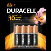 Pilha Duracell alcalina AA3+1 pequena