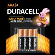 Pilha Duracell alcalina AAA3+1 palito