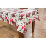 Toalha de mesa flanelada Oxford vermelho marrom