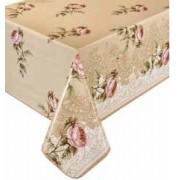 Toalha de mesa térmico dekorama Florença Floral bege rosa