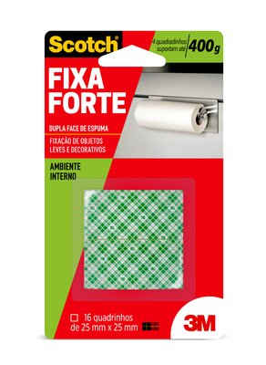 Fita Fixa Forte Espuma 3M Quadrado 25mmx25mm