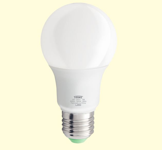 Lâmpada LED A60 9W 3.000K - Luz Branca Morna