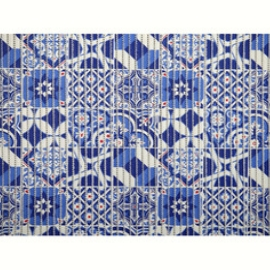 Passadeira tropical  azulejo português azul 43cm
