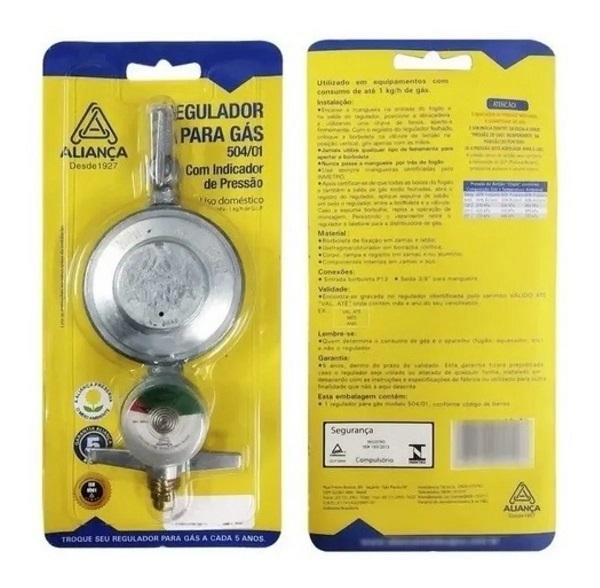 Regulador para  gás 504/01 com Indicador de pressão -