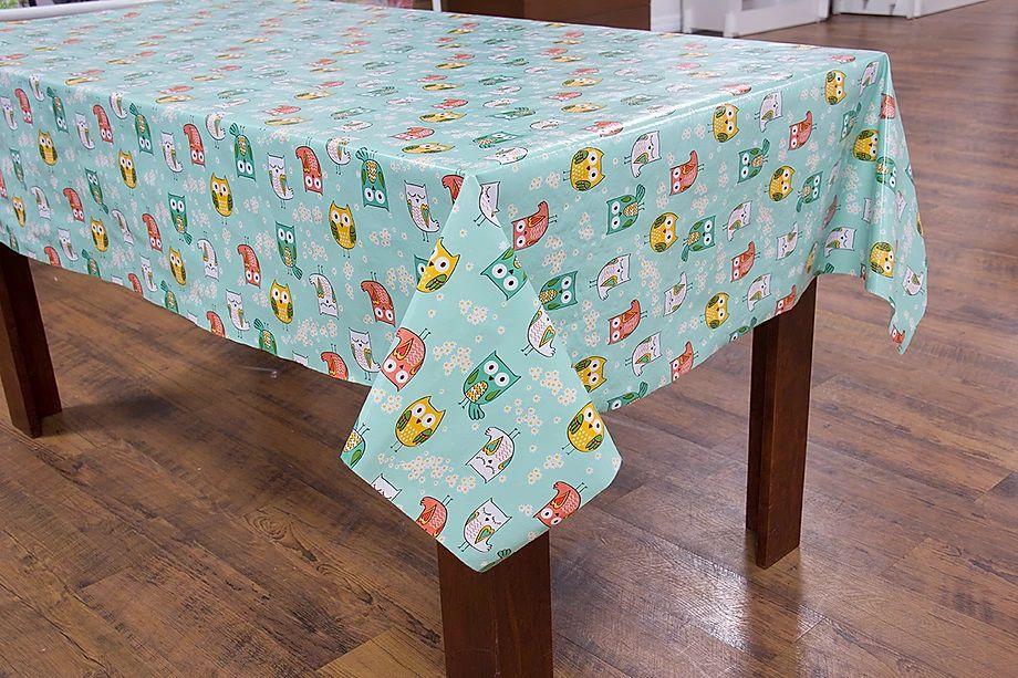 Toalha de mesa flanelado Liverpool  coruja verde