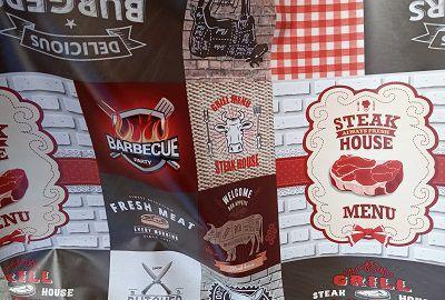 Toalha de mesa Térmica Turin Barbacue branco vermelho