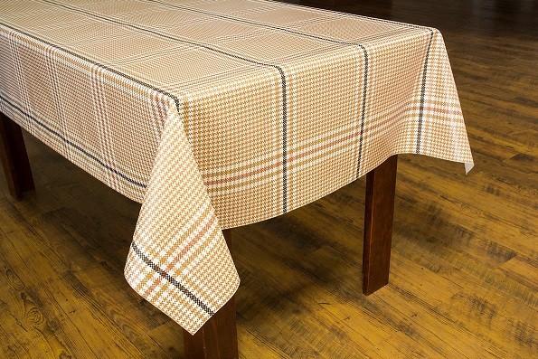 Toalha de mesa térmico dekorama Milão xadrez marrom