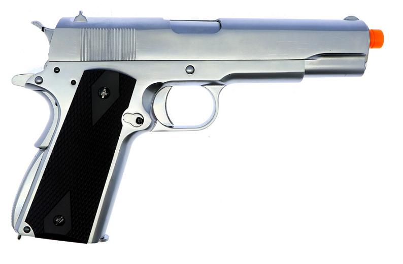 Pistola Airsoft WE 1911 Cromada Full Metal Bk