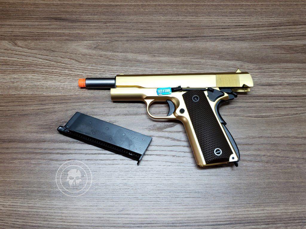 Pistola Airsoft WE 1911 Dourada Full Metal