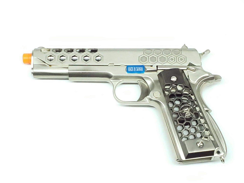 Pistola Airsoft WE 1911 Hex Cut Cromada Full Metal