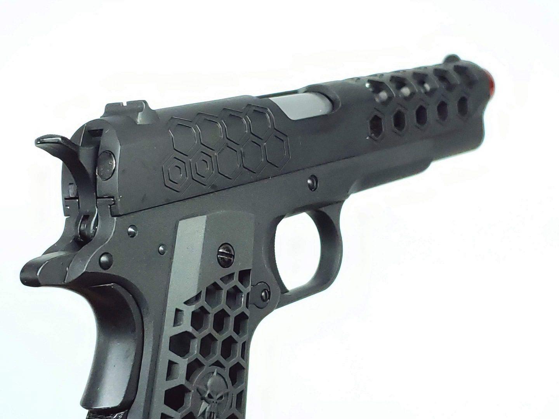 Pistola Airsoft WE 1911 Hex Cut Preta Full Metal