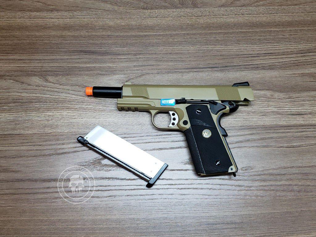 Pistola Airsoft WE 1911 MEU Tan A1 Full Metal