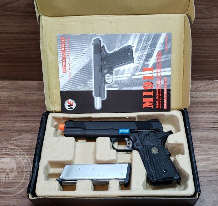 Pistola Airsoft WE 1911 MEU Preta A1 Full Metal