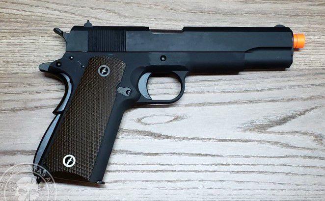 Pistola Airsoft WE 1911 Preta Full Metal