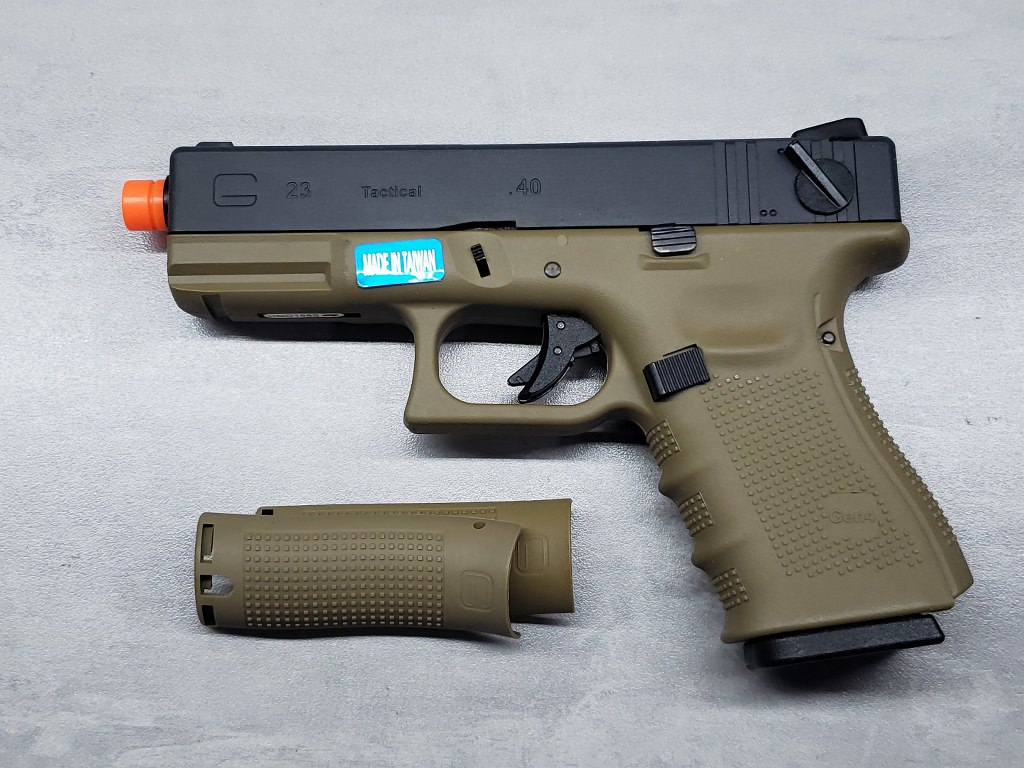Pistola Airsoft WE Glock G23 G4 Tan
