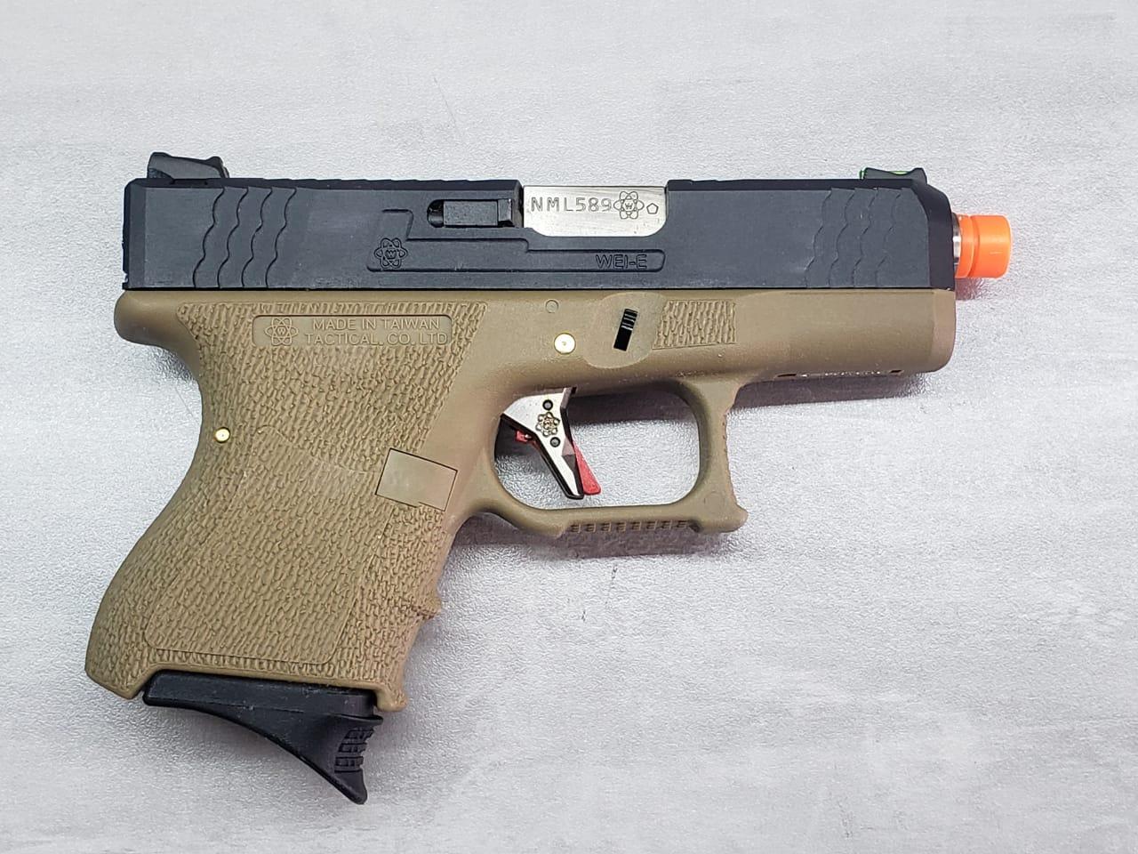 Pistola Airsoft WE Glock G27 T06 cano prata