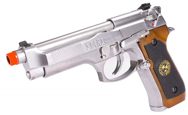 Pistola Airsoft WE M92 Bio Hazard Virus Cromada V1