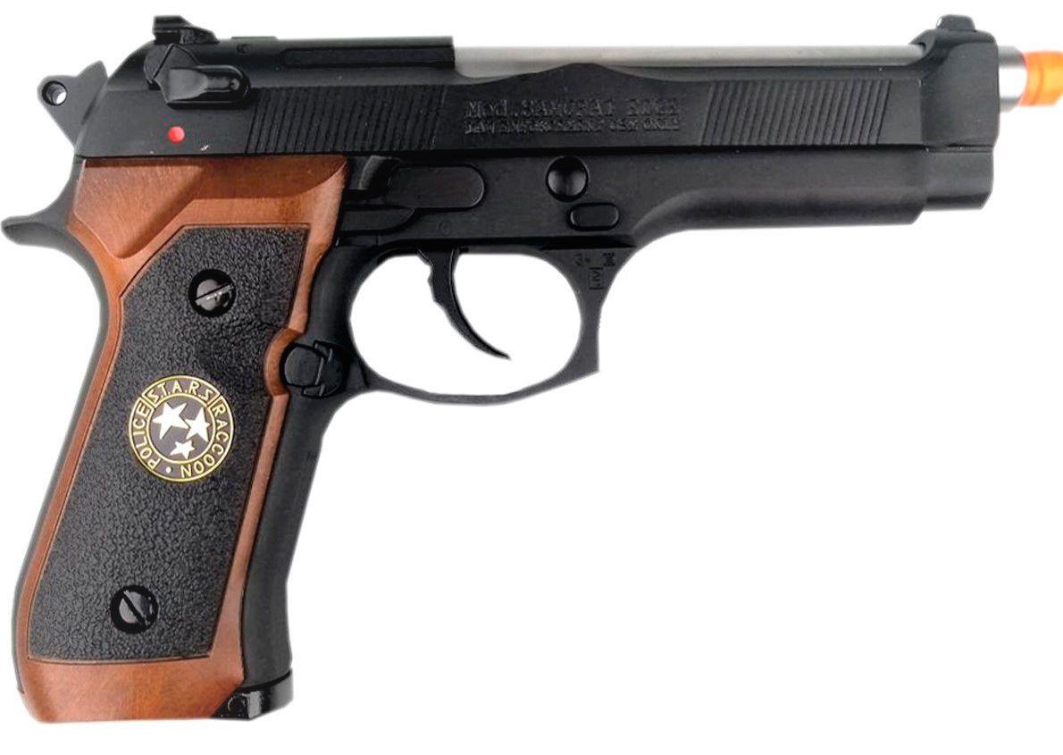 Pistola Airsoft WE M92 Bio Hazard Virus Preta V2