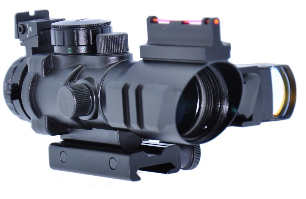 Red Dot Airsoft Acog Titan 4x Zoom 32mm Com Mini Dot