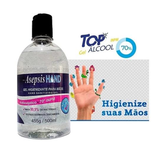 Álcool Gel 70% P/ Mãos Antisséptico Asepsis 500ml C/ Anvisa