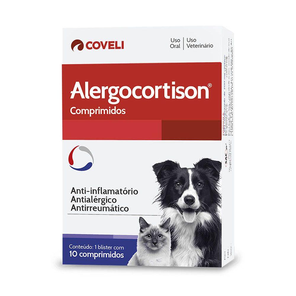 Alergocortison Anti-Inflamatório para Cães e Gatos Coveli 10 Comprimidos