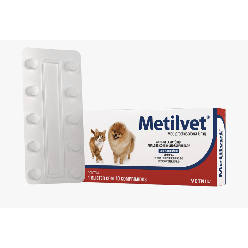 Anti-inflamatório Metilvet Metilprednisolona 5mg com 10 Comprimidos