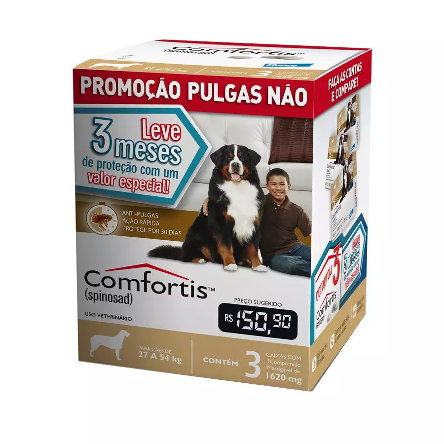 Anti-pulgas Comfortis Marrom 27 A 54kg - Combo 3 Comprimidos