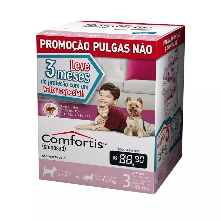 Anti-pulgas Comfortis ROSA 2,3 A 4,5kg - Combo 3 Comprimidos