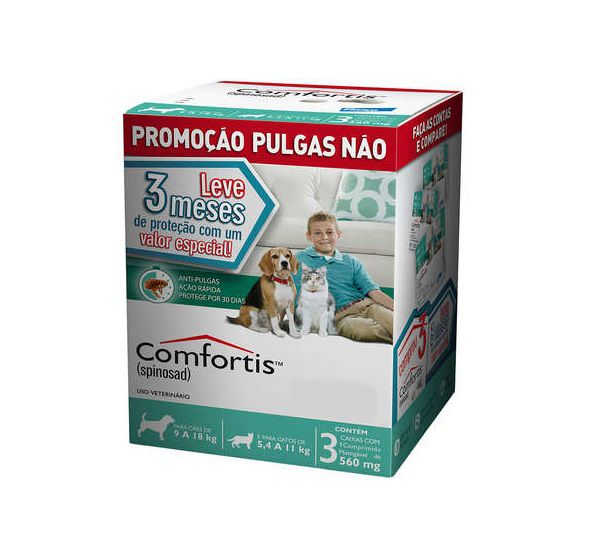 Anti-pulgas Comfortis VERDE 9 A 18kg - Combo 3 Comprimidos