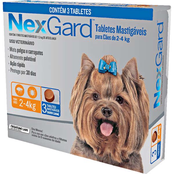 Antipulgas e Carrapatos Nexgard 11,3 mg para Cães de 2 a 4 Kg com 3 Tabletes