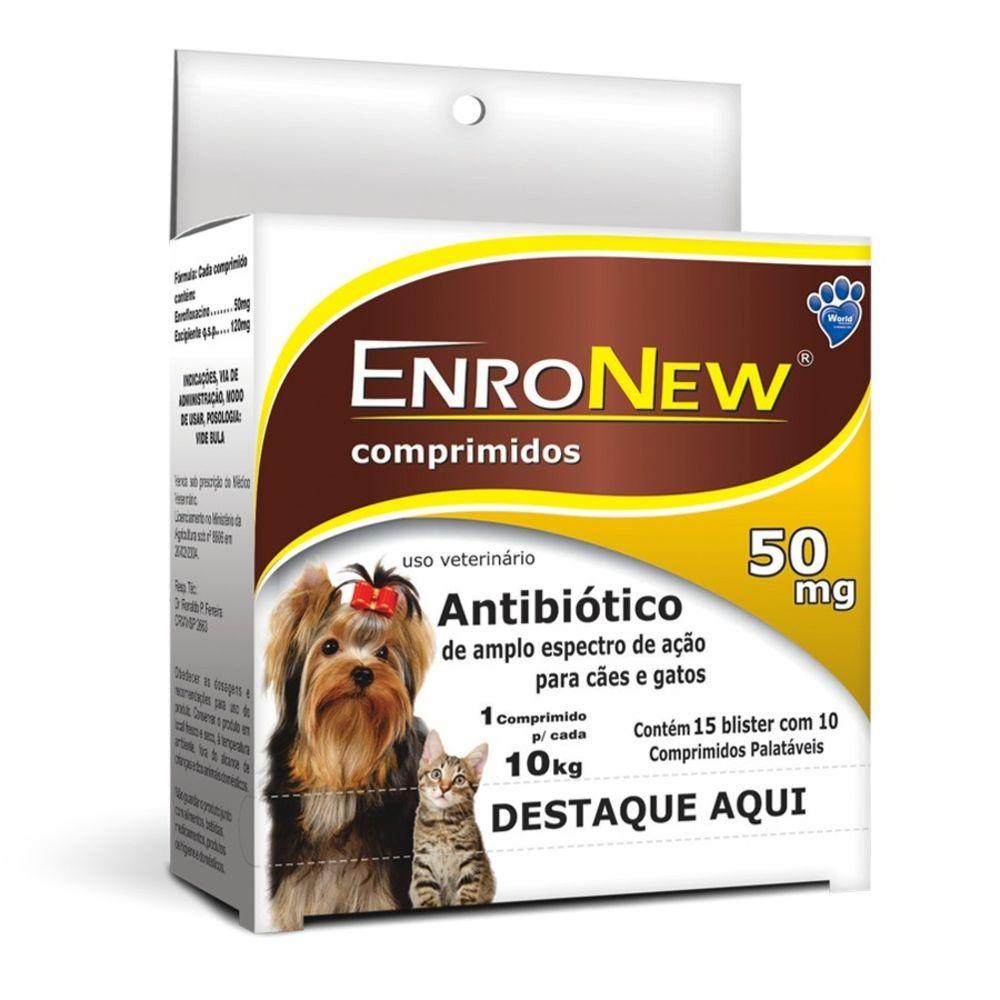 Antibiótico Enronew 50 Mg para Cães E Gatos Caixa com 150 Unidades