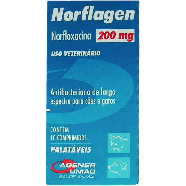 Antimicrobiano Norflagen Cães e Gatos Agener 200mg