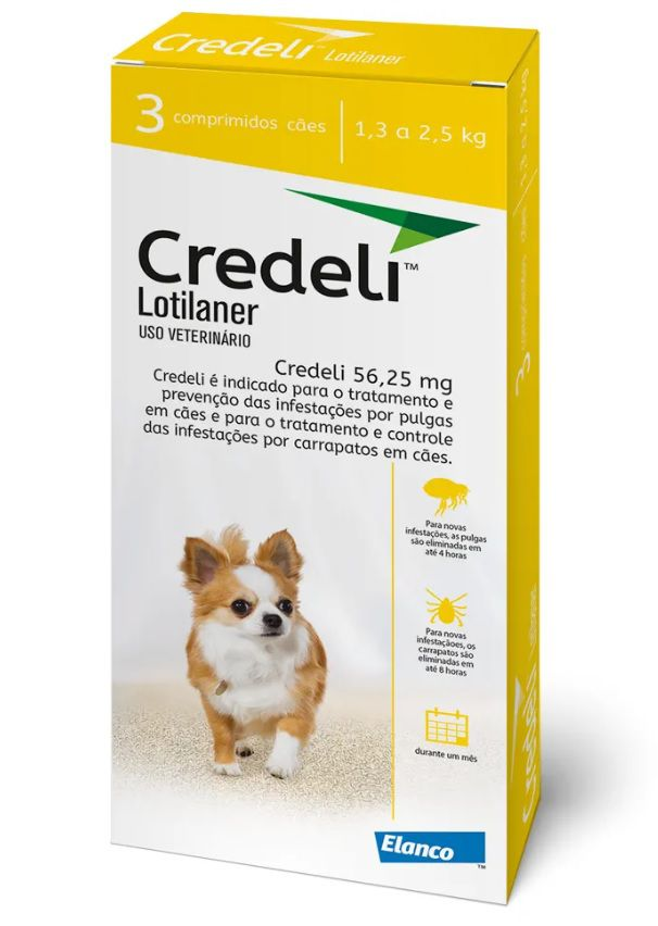Antipulgas Credeli 56,25mg Cães 1,3 a 2,5kg Elanco