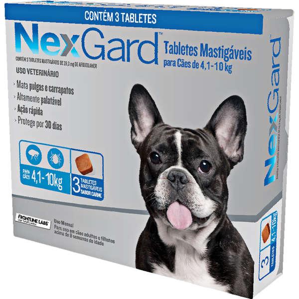 Antipulgas e Carrapatos NexGard 28,3 mg para Cães de 4,1 a 10 Kg com 3 Tabletes