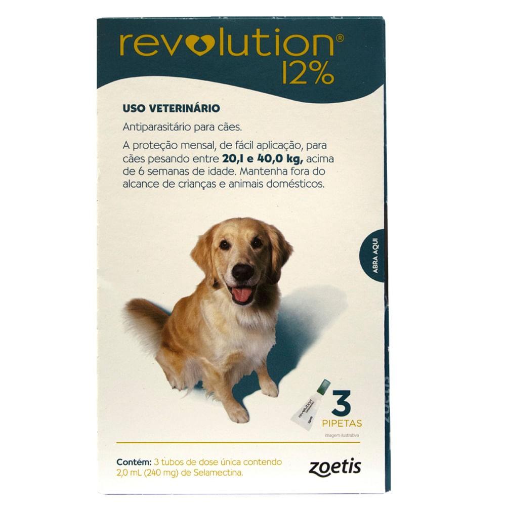 Antipulgas Revolution 12% 240mg Cães 20,1 a 40kg - 3 Pipetas