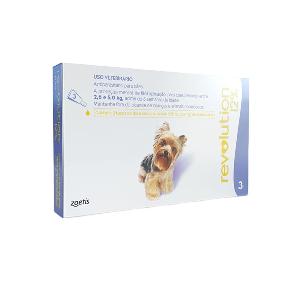 Antipulgas Revolution 12% 30mg Cães 2,6 a 5kg-3 Pipetas