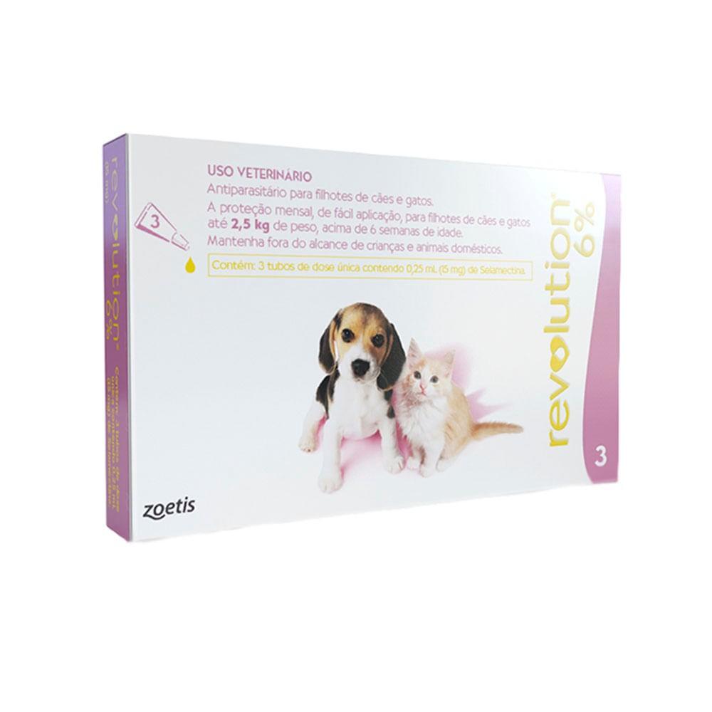 Antipulgas Revolution 6% 15mg Cães e Gatos 2,5kg - 3 Pipetas