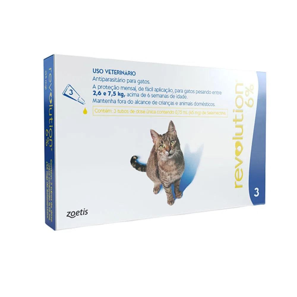 Antipulgas Revolution 6% Gatos de 2,6kg a 7,5kg Zoetis 45mg-3 Pipetas
