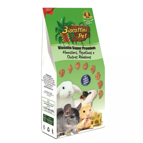 Biscoito Biscottini Pet Super Premium Hamster - 80g