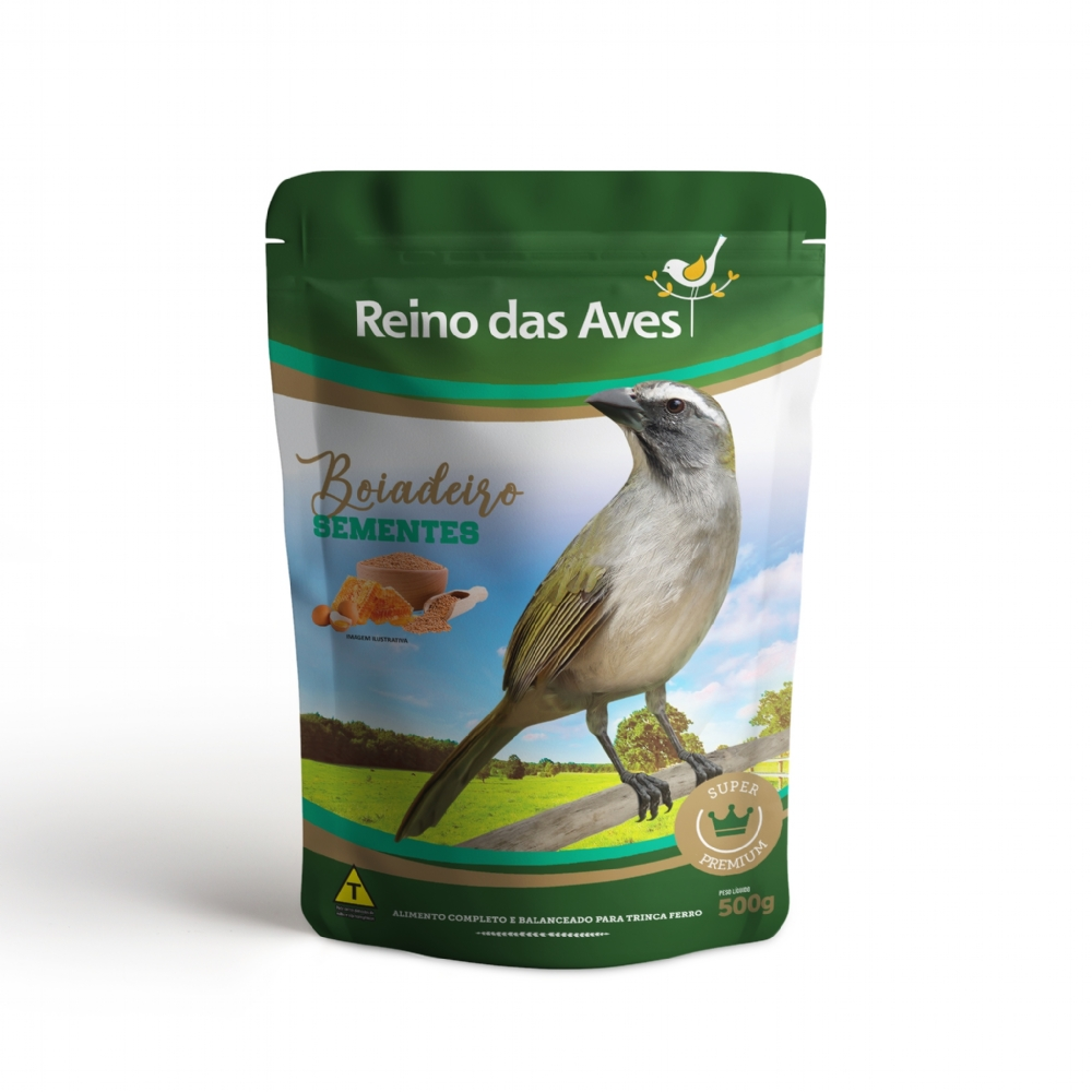 Boiadeiro Sementes Premium para Aves 500g - Reino das Aves