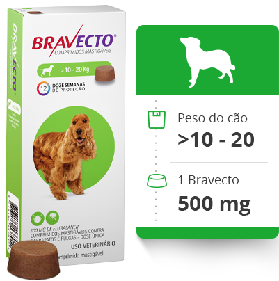 Bravecto Antipulgas e Carrapatos MSD 10 a 20 Kg