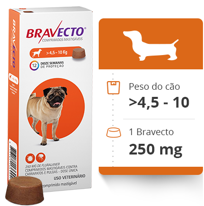 Bravecto Antipulgas e Carrapatos MSD 4,5 a 10 Kg