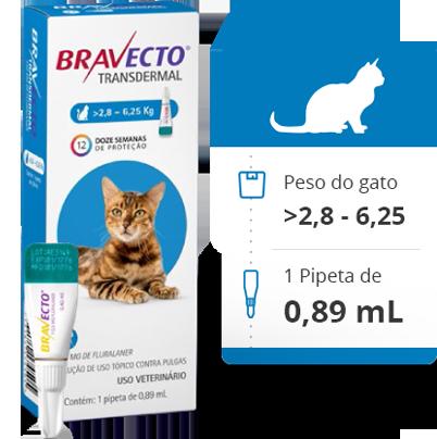 Bravecto Antipulgas Transdermal MSD para Gatos de 2,8 a 6,25 Kg