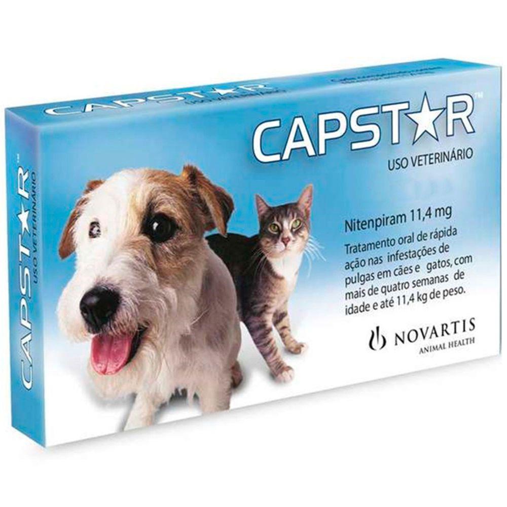 Capstar Novartis 11,4mg Cães Gatos Até 11kg 6 Comprimidos