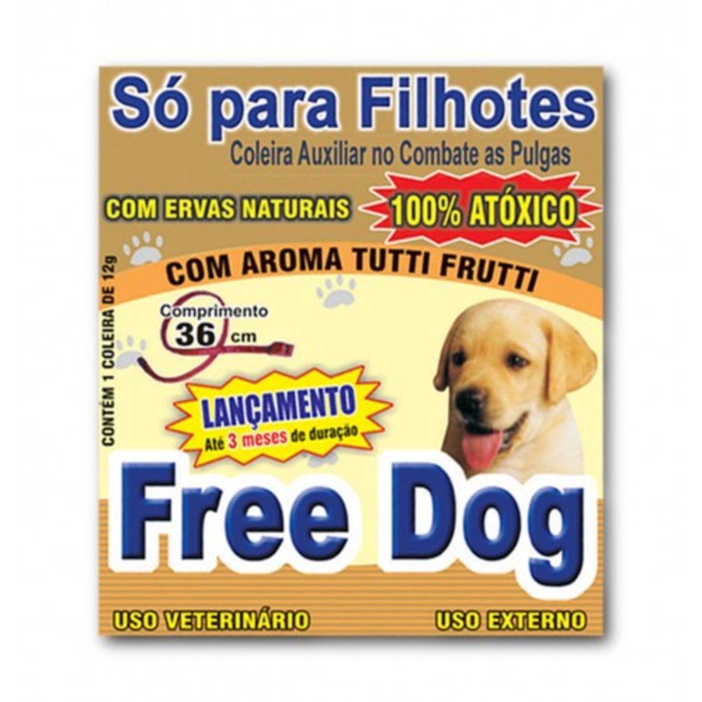 Coleira Anti Pulgas Cães Free Dog Filhote 36 Cm