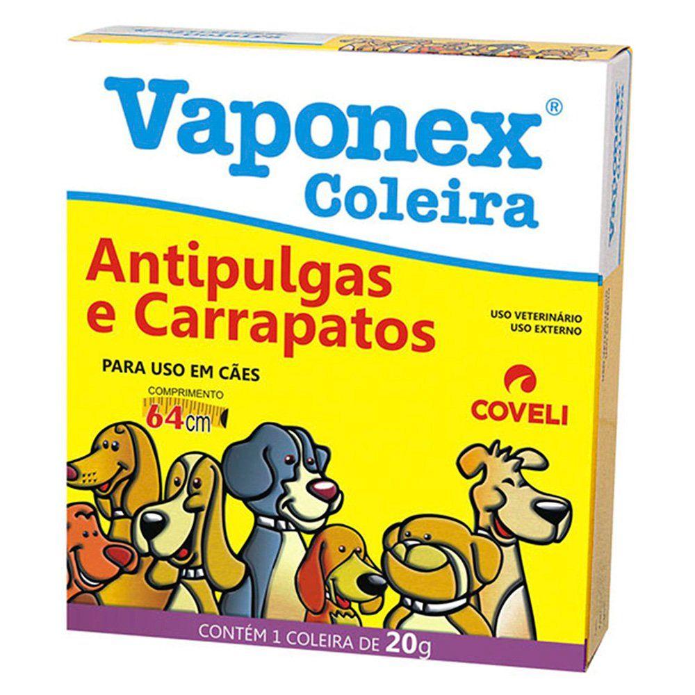 Coleira Antipulgas e Carrapatos Coveli Vaponex para Cães 20g